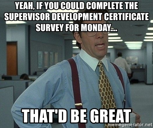 Office Space That Would Be Great - yeah, if you could complete the supervisor development certificate survey for monday....  that'd be great