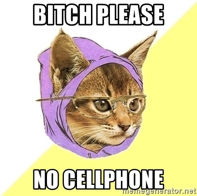 Hipster Kitty - Bitch please no Cellphone