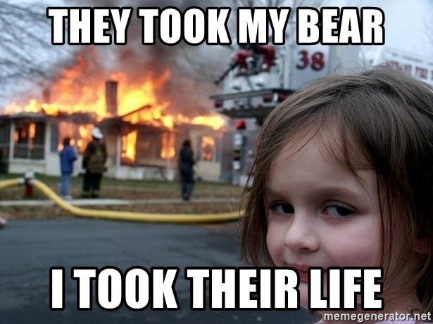 Disaster Girl - they took my bear i took their life