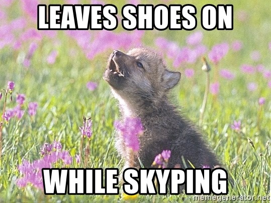 Baby Insanity Wolf - LEAves shoes on while skyping