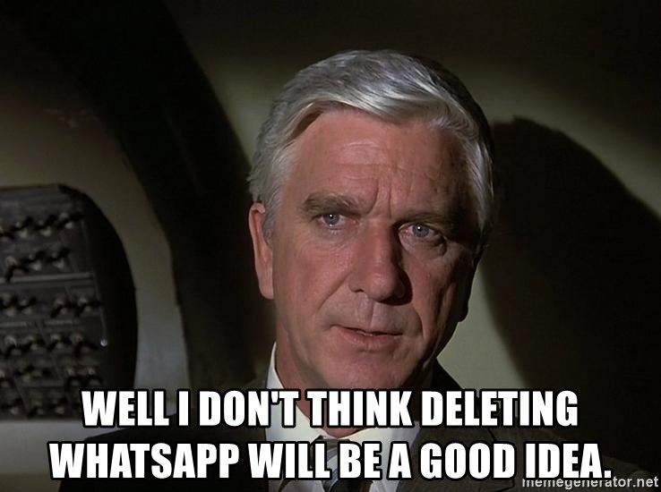 Leslie Nielsen Shirley - WELL I DON'T THINK DELETING WHATSAPP WILL BE A GOOD IDEA.