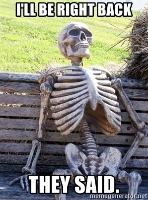 Waiting Skeleton - I'LL BE RIGHT BACK They said.