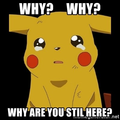 Pikachu crying - Why?     Why? Why are you stil here?