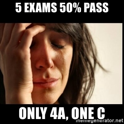 First World Problems - 5 Exams 50% pass oNLY 4a, one C