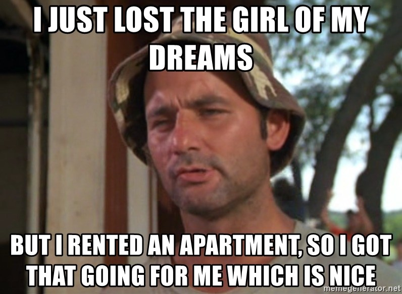 So I got that going on for me, which is nice - i just lost the girl of my dreams but i rented an apartment, so i got that going for me which is nice