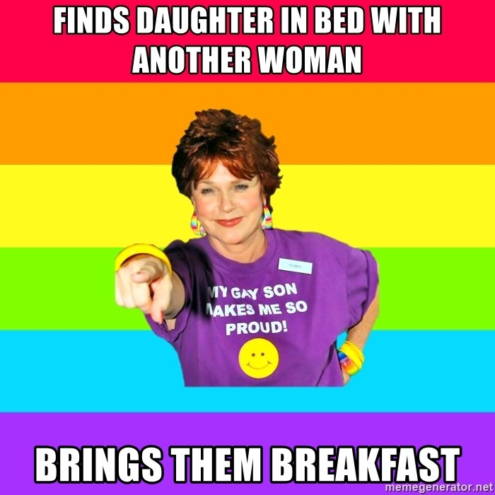 Over Enthusiastic Pflag Mother - Finds daughter in bed with another woman Brings them breakfast