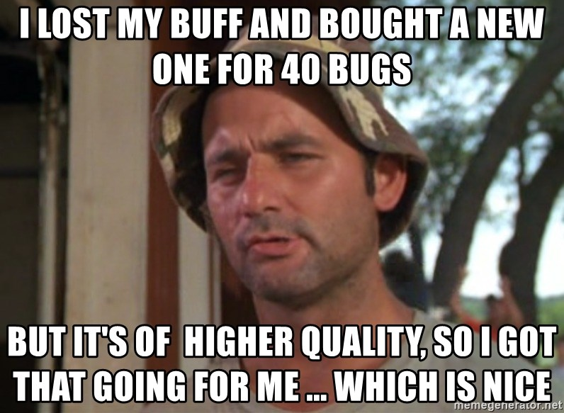 So I got that going on for me, which is nice - I lost my buff and bought a new one for 40 bugs but it's of  higher quality, so I got that going for me ... which is nice