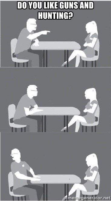 Speed dating meme guns