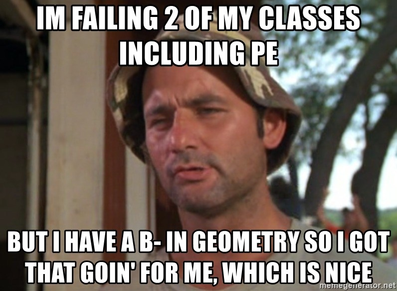 So I got that going on for me, which is nice - Im failing 2 of my classes including pe but i have a B- in Geometry so i got that goin' for me, which is nice