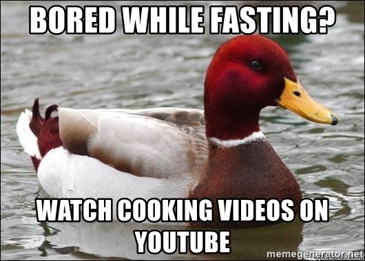 Malicious advice mallard - Bored while fasting? watch cooking videos on youtube