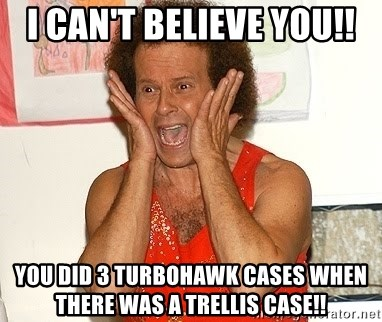 Richard Simmons Screaming - I can't believe you!! You did 3 TurboHawk cases when there was a trellis case!!
