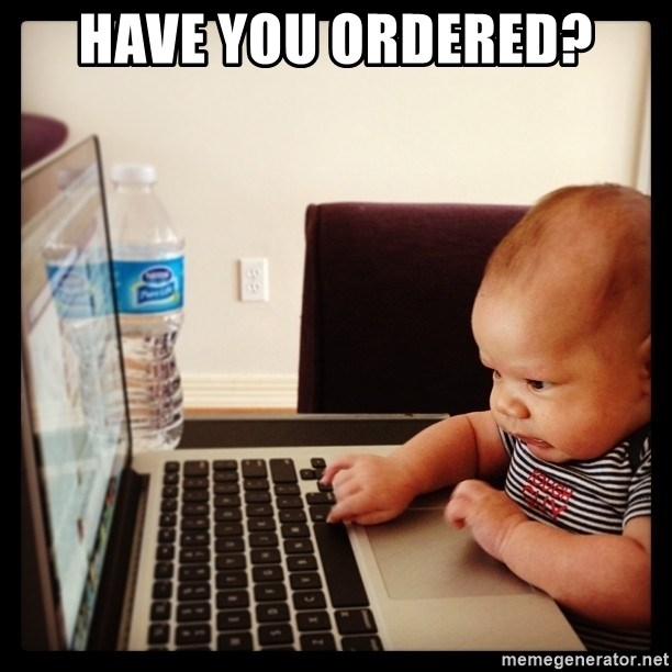 Hold on Mom just let me check the stock market real quick...the food can wait  - Have you ordered?