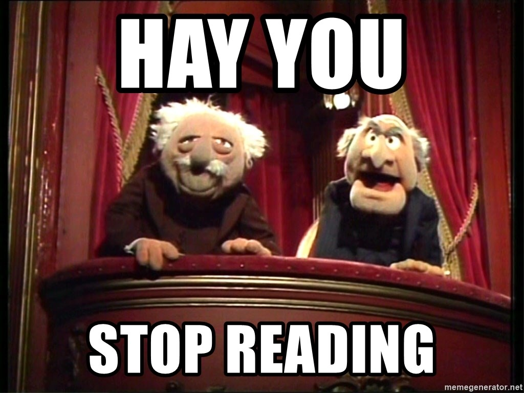 Muppets Old Men - hay you  stop reading