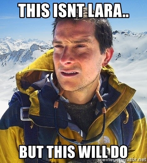 Bear Grylls Loneliness - This isnt lara.. but this will do