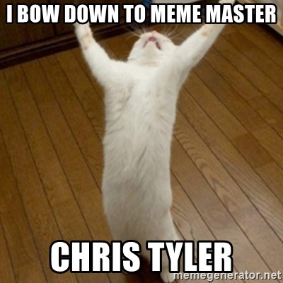 46738425 i bow down to meme master chris tyler praise the lord cat,Get Bow Down Meme