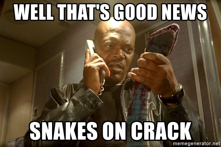 Well That S Good News Snakes On Samuel L Jackson A Plane Meme Generator