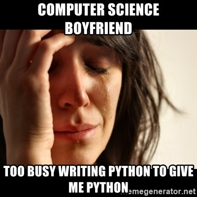 crying girl sad - Computer Science Boyfriend Too busy writing python to give me python