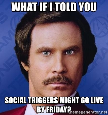 Ron Burgundy - What if I told you Social Triggers might go live by Friday?