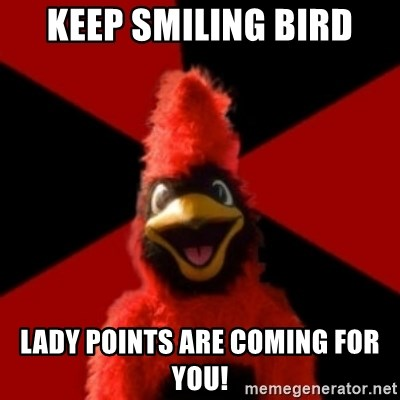 Wesleyan Cardinal - Keep Smiling Bird Lady points are coming for you!