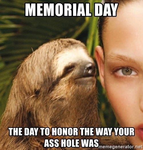 The Rape Sloth - Memorial Day The day to honor the way your ass hole was