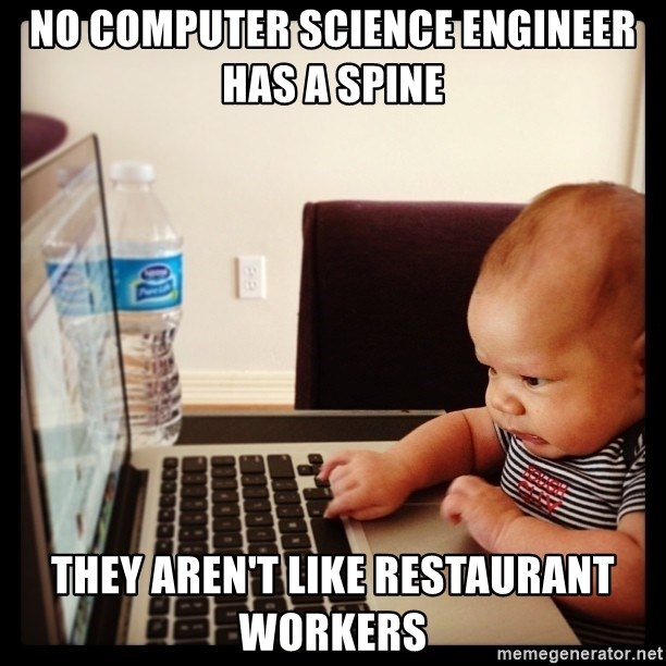 Hold on Mom just let me check the stock market real quick...the food can wait  - no computer science engineer has a spine they aren't like restaurant workers