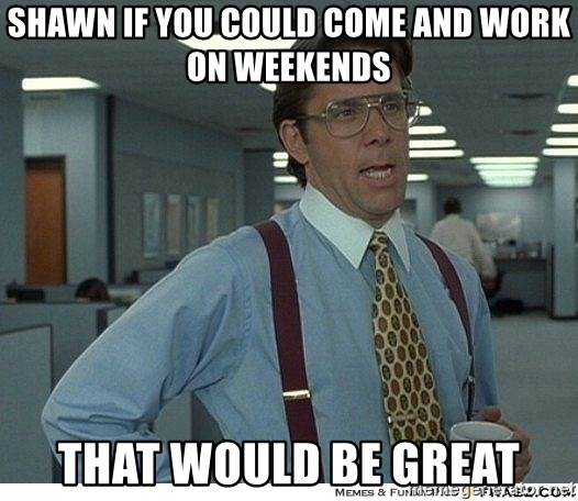 That would be great - SHAWN IF YOU COULD COME AND WORK ON WEEKENDS THAT WOULD BE GREAT