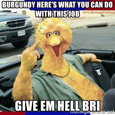 Big Bird Middle Finger - Burgundy here's what you can do with this job Give em hell Bri