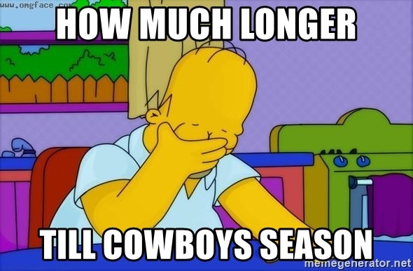 Disappointed Homer Simpson - how much longer till cowboys season