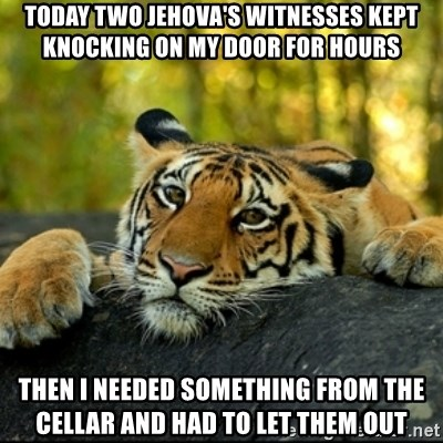 Confession Tiger - Today two jehova's witnesses kept knocking on my door for hours Then I needed something from the cellar and had to let them out