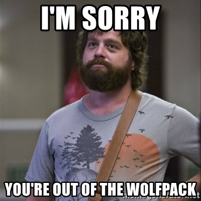 Alan Hangover - I'm sorry you're out of the wolfpack