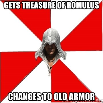 Gets Treasure Of Romulus Changes To Old Armor Assassins Creed Ezio