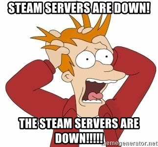 Fry Panic - steam servers are down! the Steam servers are Down!!!!!