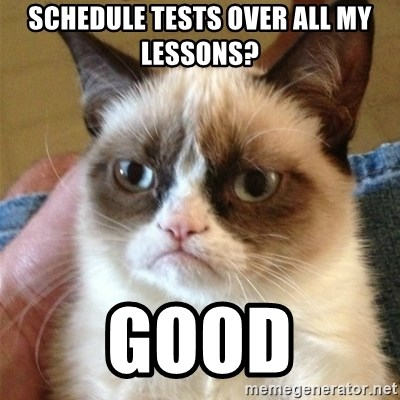 Grumpy Cat  - schedule tests over all my lessons? good