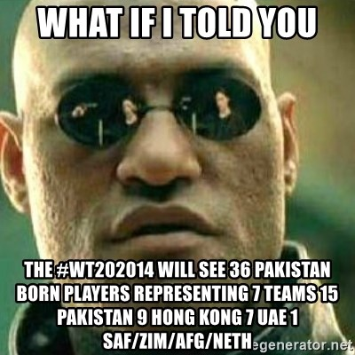 What If I Told You - What If I Told You The #WT202014 will see 36 Pakistan born players representing 7 teams 15 Pakistan 9 Hong Kong 7 UAE 1 SAf/Zim/Afg/Neth