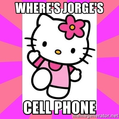 Hello Kitty - Where's Jorge's  Cell phone