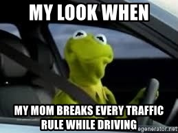 kermit the frog in car - MY LOOK WHEN  MY MOM BREAKS EVERY TRAFFIC RULE WHILE DRIVING