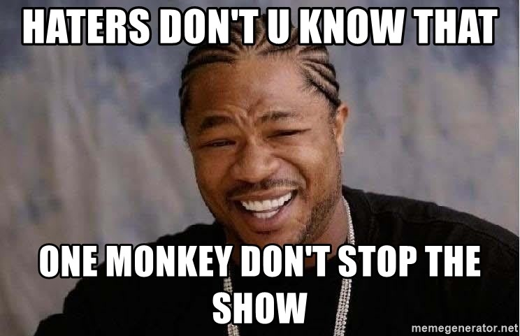 Haters Dont U Know That One Monkey Dont Stop The Show Yo Dawg