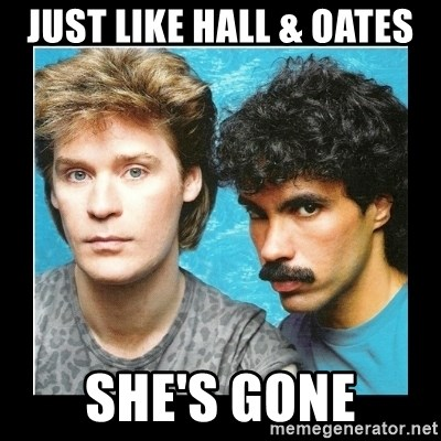 Just Like Hall Oates Shes Gone Hall Oates Meme Generator