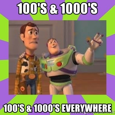 X, X Everywhere  - 100's & 1000's 100's & 1000'S everywhere