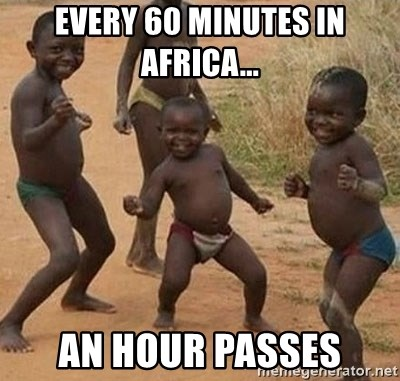 Happy african kids - every 60 minutes in africa... an hour passes