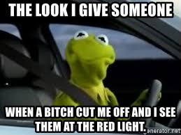 kermit the frog in car - THE LOOK I GIVE SOMEONE WHEN A BITCH CUT ME OFF AND I SEE THEM AT THE RED LIGHT.