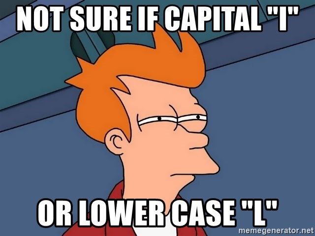 """Futurama Fry - NOt sure if capital """"i"""" or lower case """"L"""""""