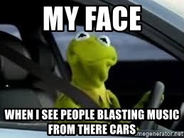 kermit the frog in car - my face when i see people blasting music from there cars