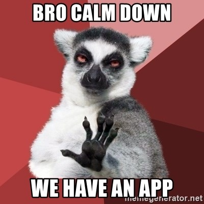 Chill Out Lemur - bro Calm down we have an app