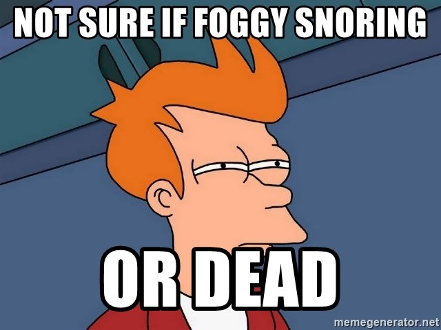 Futurama Fry - Not sure if foggy snoring or dead