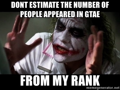 joker mind loss - dont estimate the number of people appeared in GTAE from my rank