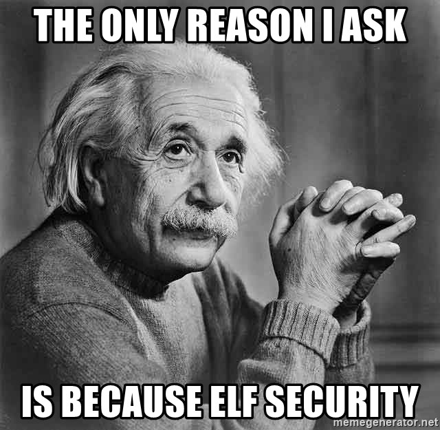 Albert Einstein - THE ONLY REASON I ASK IS BECAUSE ELF SECURITY