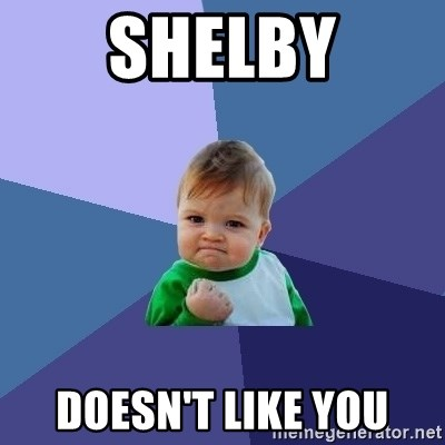 Success Kid - SHELBY Doesn't like you