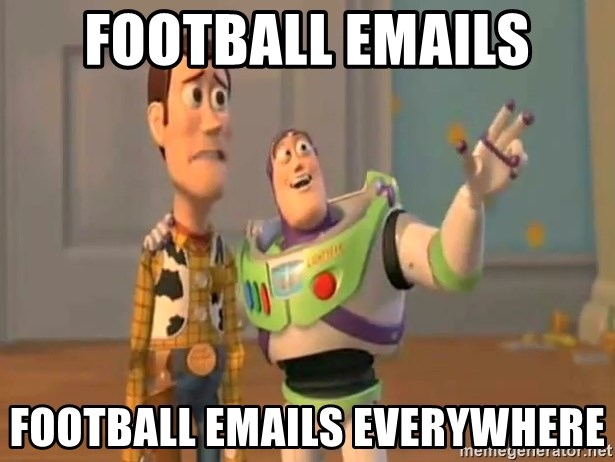 X, X Everywhere  - football emails football emails everywhere