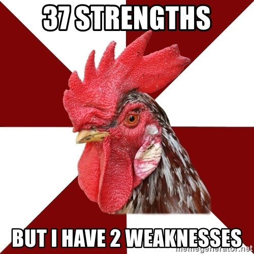 Roleplaying Rooster - 37 Strengths But I have 2 weaknesses